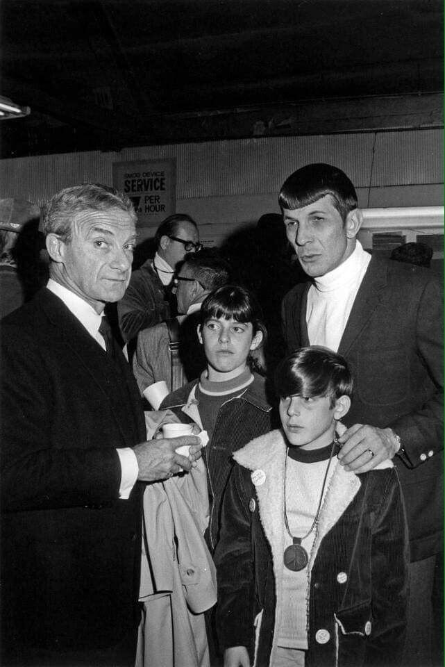 "Jonathan Harris (Lost in Space) pictured with Leonard Nimoy and his son, Adam, and his daughter, Julia. Adam Nimoy, director of the documentary, ""For the Love of Spock."""