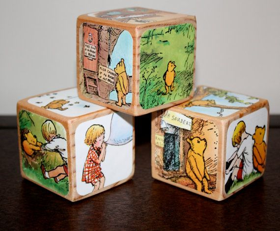 classic winnie the pooh baby shower | Winnie The Pooh Childrens Decorative Wooden Book by Booksonblocks