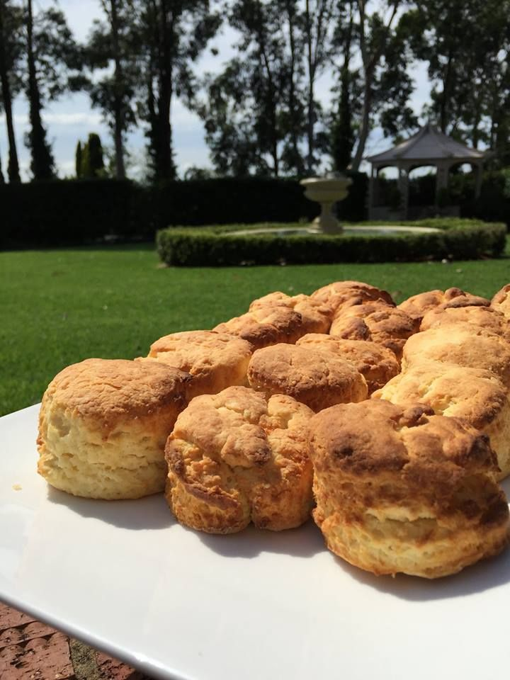 Freshly baked scones resting in the gardens