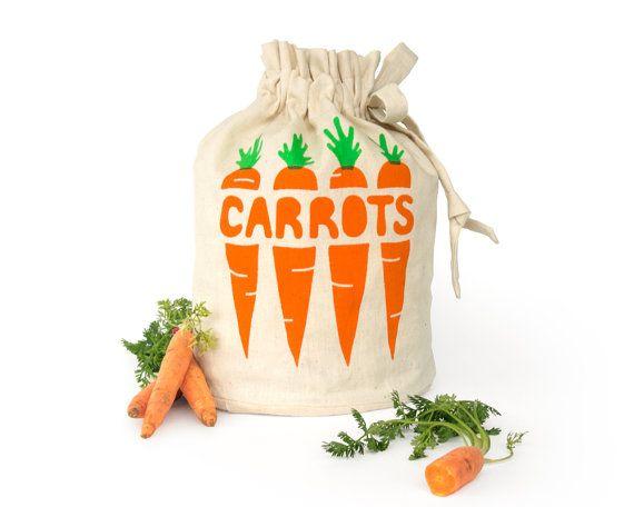 CARROTS: Eco friendly hemp organic cotton reusable drawstring bag. Fresh produce storage sack. Handmade kitchen housewares. Food storage.