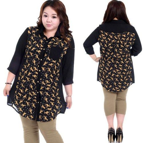 Model baju untuk orang gemuk dengan motif kecil