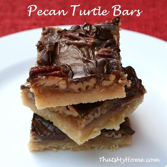 Pecan Turtle Bars are made with a buttery shortbread crust, filled ...