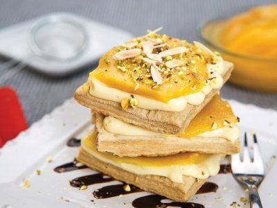 Receta de Mil Hojas de Crema y Mango