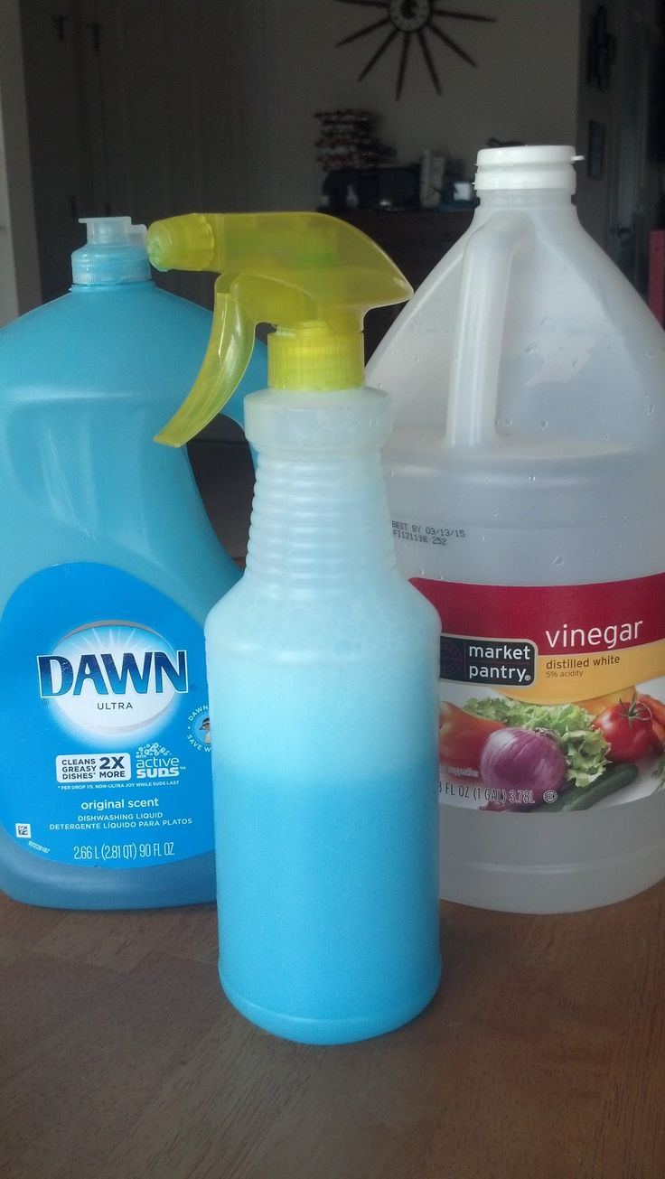 Homemade Bathroom Cleaner  Equal Parts Blue Dawn and White Vinegar  I use 1 cup of each.  I measure out my 1 c vinegar into a 2 c measuring cup.  Heat in the microwave for 1 minute, then pour in the dawn until the liquid level reaches 2 c. Pour (using a funnel if you want) into a spray bottle.