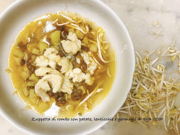 Zuppa calda di rombo con patate lenticchie e germogli di soia