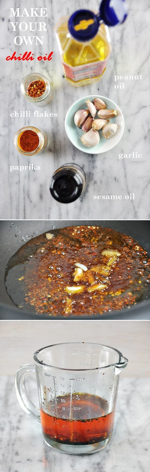 Recipe for homemade chilli oil | Forget about store-bought chilli infused oil - you can easily make this at home. The best part is you can adjust the spiciness to taste!