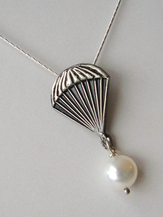 Parachute necklace - Solid Sterling Silver 18 inch chain - Natural Pearl - Unique gift for your soldier, skydiver or fan