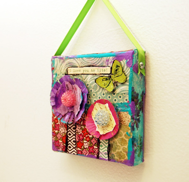 This Cute Mini Mixed Media Original Art On Canvas Has Purple And Pink Flowers With Beaded