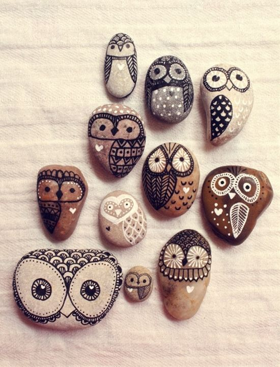 hand painted owl rocks