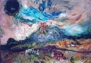 """Affandi -Affandi Painting.The Theme is """"Mountain Erupts"""". Drawings (Canvas)"""