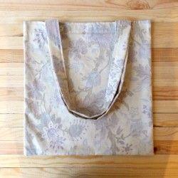 Beżowa torba w fioletowe ornamenty