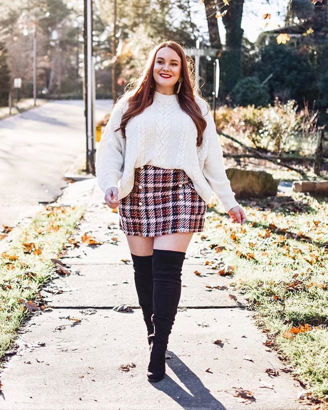 All About Plaid Skirts And Cable Knit Sweaters Paired With Wide Calf Over The Knee Boots That Ar Plus Size Winter Outfits Plus Size Fall Outfit Curvy Outfits