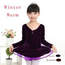 Herbst Lila Warme V-ausschnitt Langarm Samt Tutu Ballett-tutu Kleid Kinder Mädchen-ballettröckchen Kleid(China (Mainland))