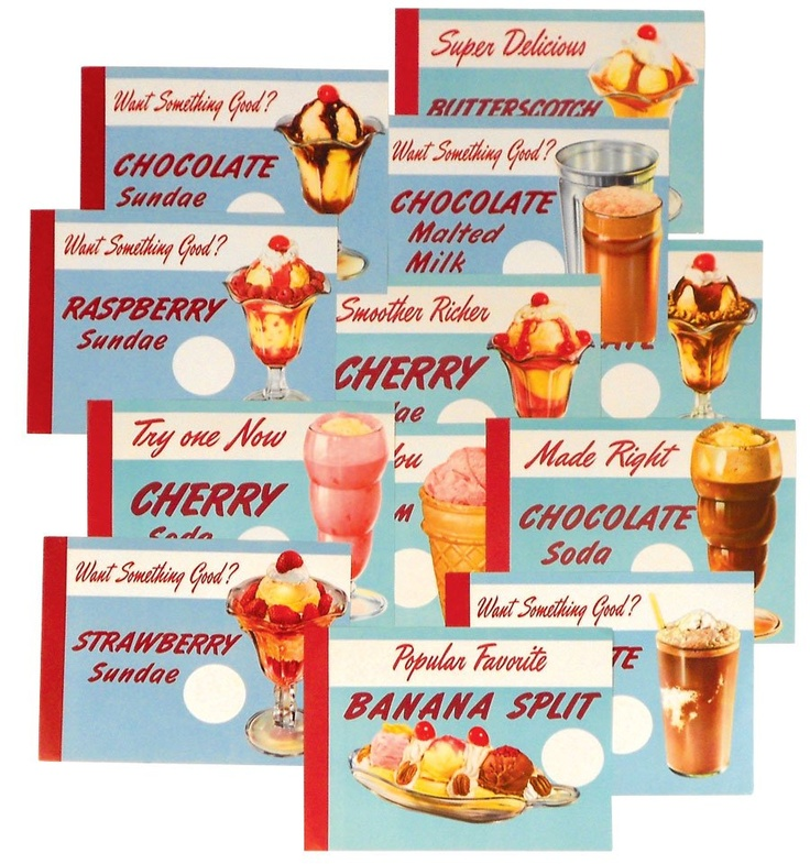 Vintage soda fountain ice cream signs