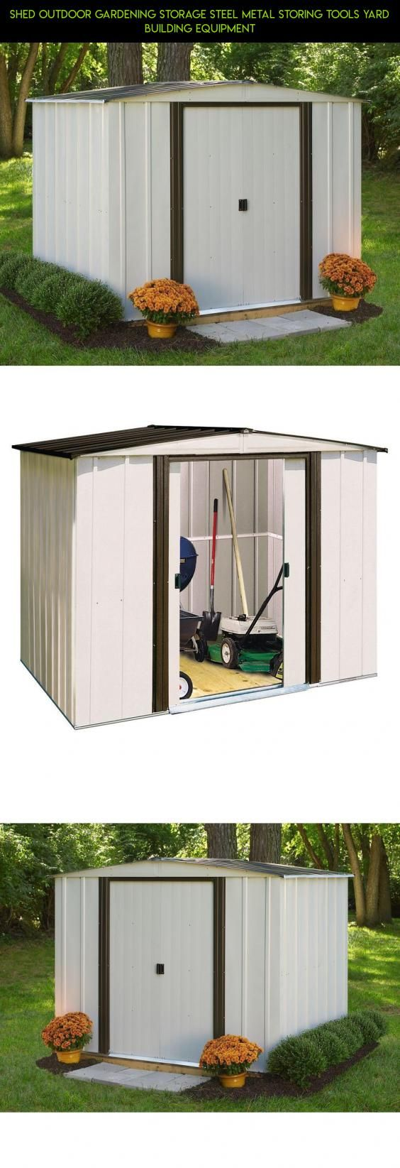 Shed outdoor gardening storage steel metal storing tools yard building equipment tech drone