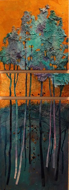 "CAROL NELSON FINE ART BLOG: ""Golden Pond"", mixed media abstract tree landscape © Carol Nelson Fine Art"