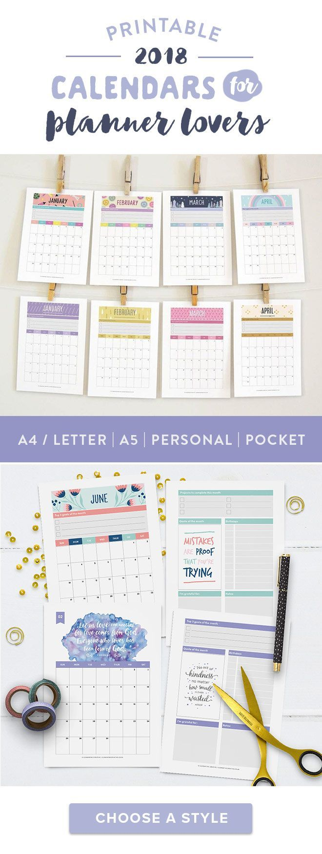 Printable 2018 calendars for planner lovers. Make the best of every month - keep track of your monthly goals, projects, bills and more. Choose between Regular binder size (A4 / Letter), A5, Personal and Pocket sizes. Click here to choose a 2018 calendar design that fits your style!
