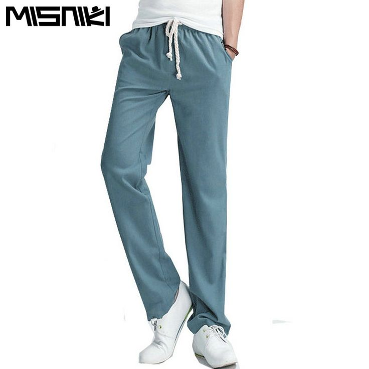 MISNIKI 2017 Top Selling Solid Spring Summer Men Linen Pants Trousers Big Size Casual Mens jogger Pants (Asian Size)
