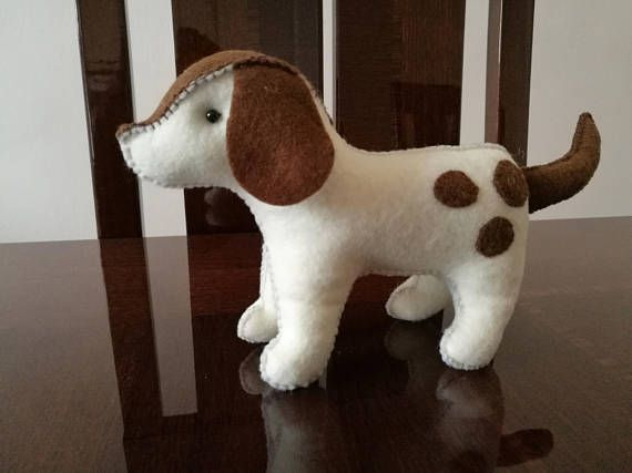 Spots The Puppy Plush  handmade woolfelt puppy dog plush soft