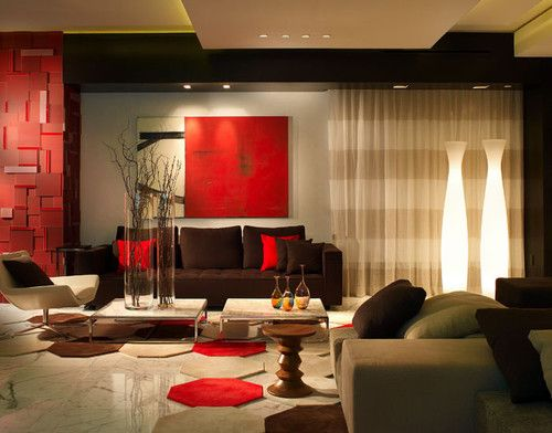 Contemporary Spaces Red And Brown Living Room Design, Pictures, Remodel,  Decor And Ideas