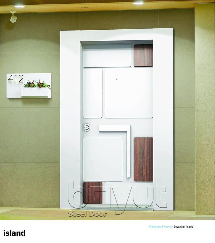 """*Model """"Island-White"""" *Steel Security Door, *Entrance Door"""