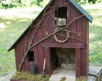 Primitive Amish Lighted Farmhouse w/ porch Folk by GooseberryCreek