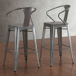 Tabouret Silver with Back 30-inch Bar Stools (Set of 2) | Overstock.com Shopping - Great Deals on Bar Stools