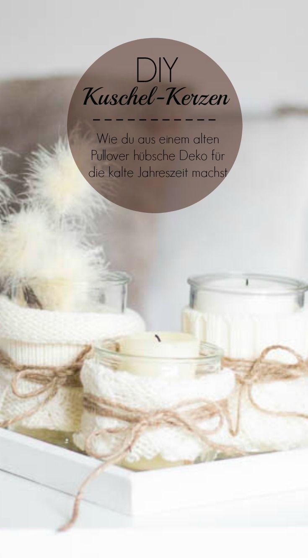 DIY Kuschelkerzen - hübsche Deko für die Kerzen aus Pulloverärmeln