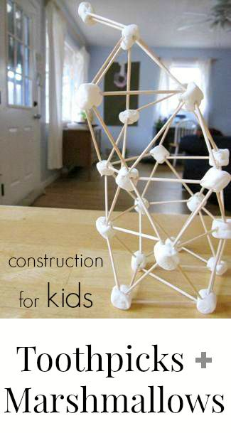 Making Marshmallow and Toothpick Sculptures - a fun construction project for kids!