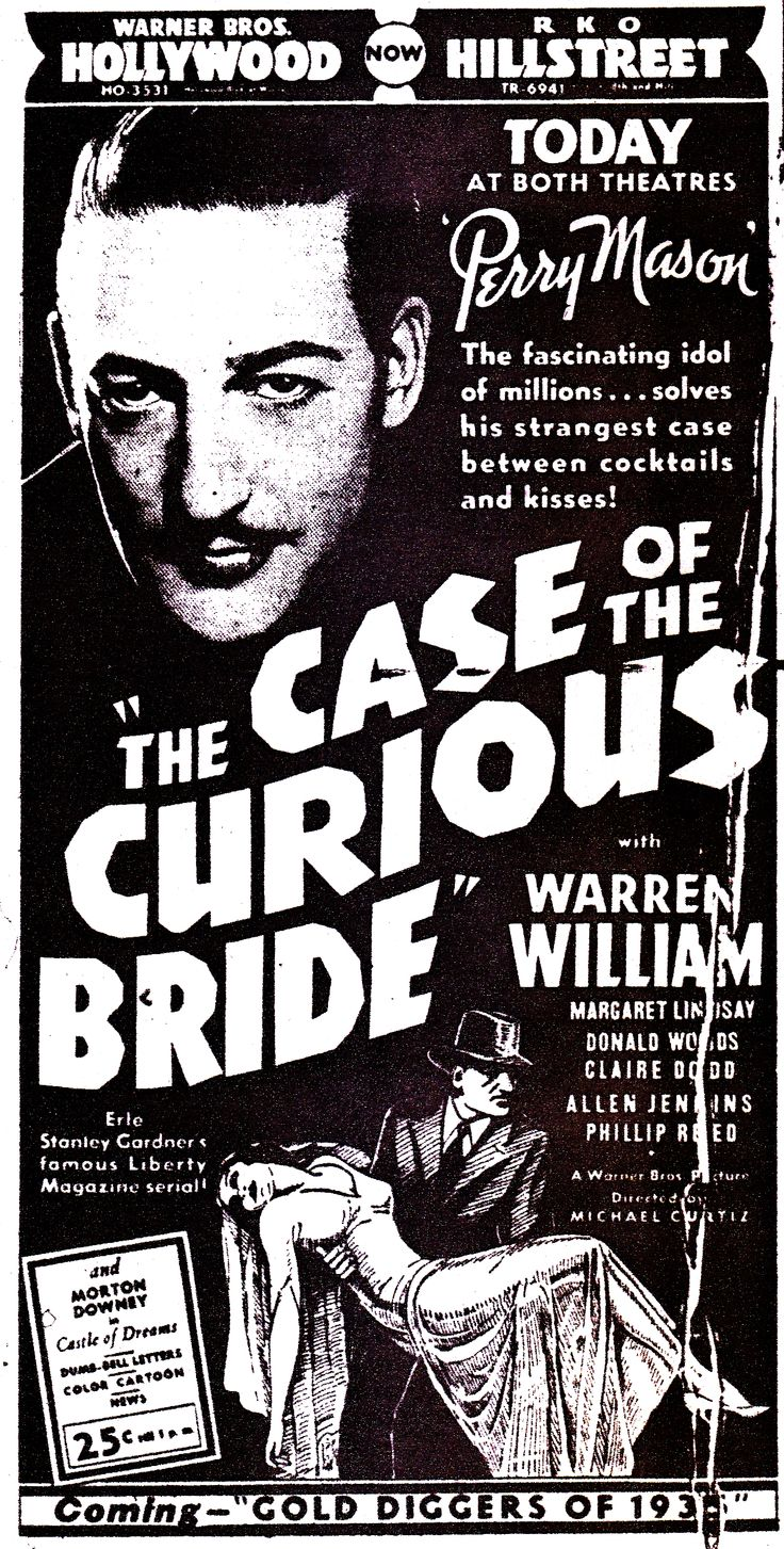 Warren William in The Case of the Curious Bride (1935).  Los Angeles Times, April 11, 1935.