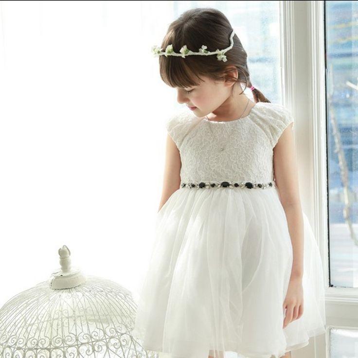 19.49$  Buy here - 2017 Summer New Evening Dresses Kids Girls Korean Cute Sleeveless Red and White Lace Mesh Princess Sofia Costume Dress  #buyininternet