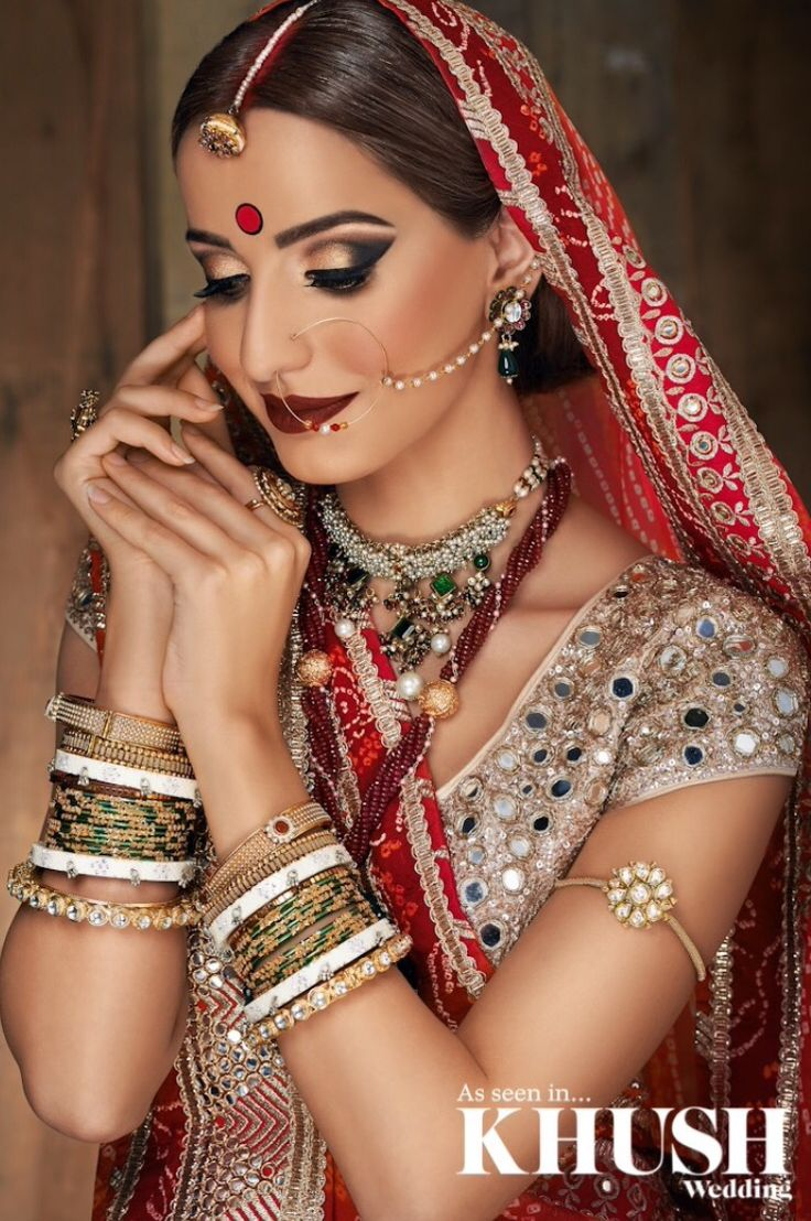 Get that authentic Indian bridal look with Hair & Makeup by Yasmin S Khanom  +44(0)7411 502 219  Outfit: Zarkan of London Jewellery: Anees Malik Glass bangles: Generations Accessories and Beauty