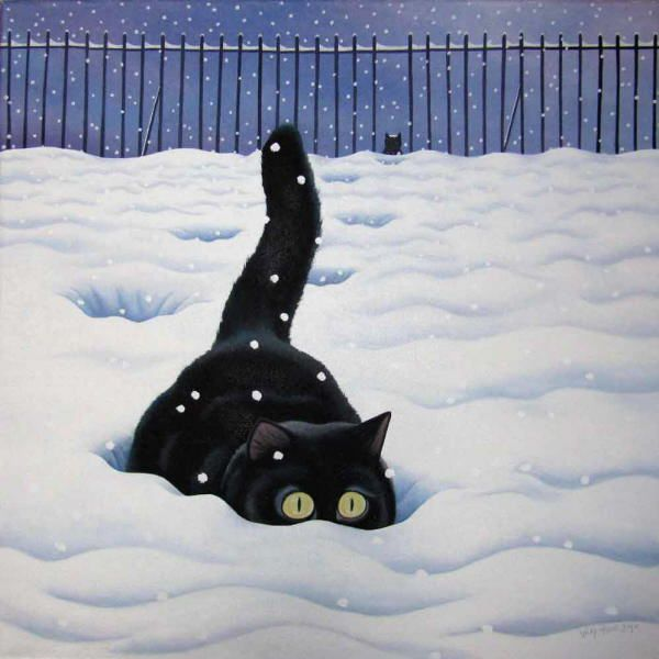 Winter cat painting. Vicky Mount - Bigfoot