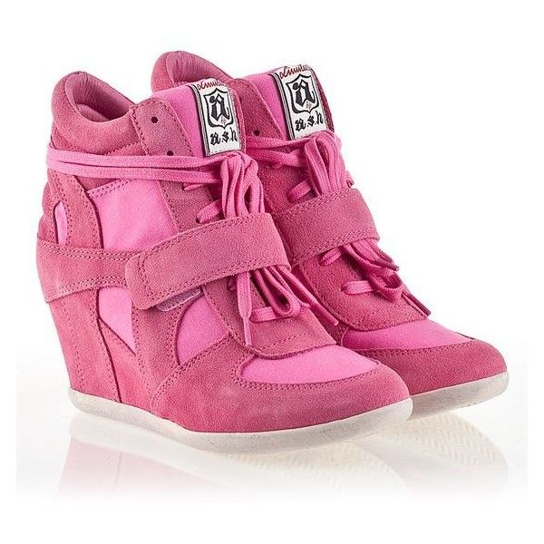 Womens Wedge Sneakers ❤ liked on Polyvore featuring shoes, sneakers, wedges shoes, wedge sneaker shoes, suede sneakers, pink suede shoes and wedge trainers