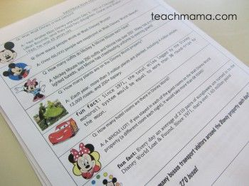 Disney Fun Facts notes to put in lunchboxes.  Wouldn't this be fun in the weeks before a trip, to get the kids even more excited?