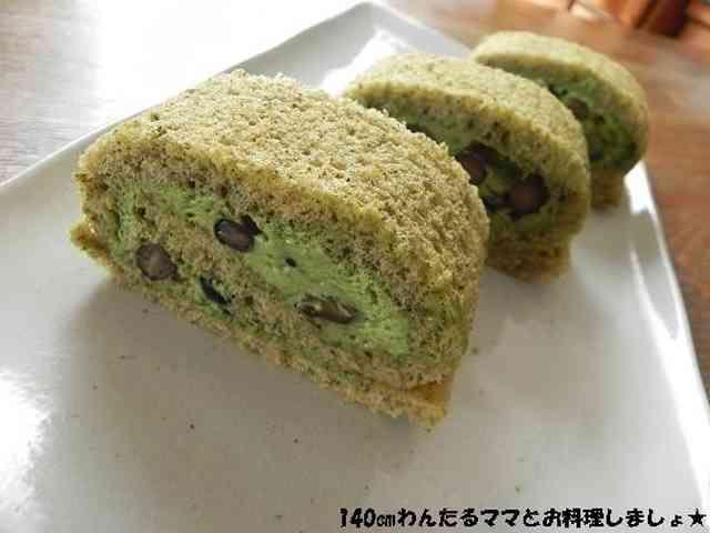 ホケミで簡単★黒豆抹茶ロールケーキの画像