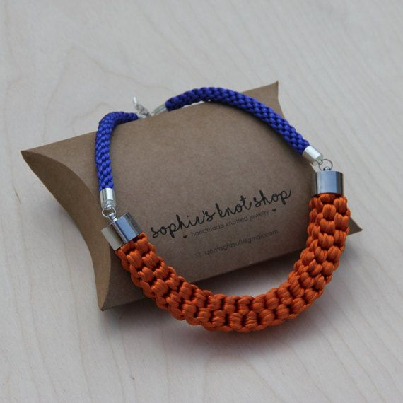 Orange and blue knotted necklace by SophiesKnotShop