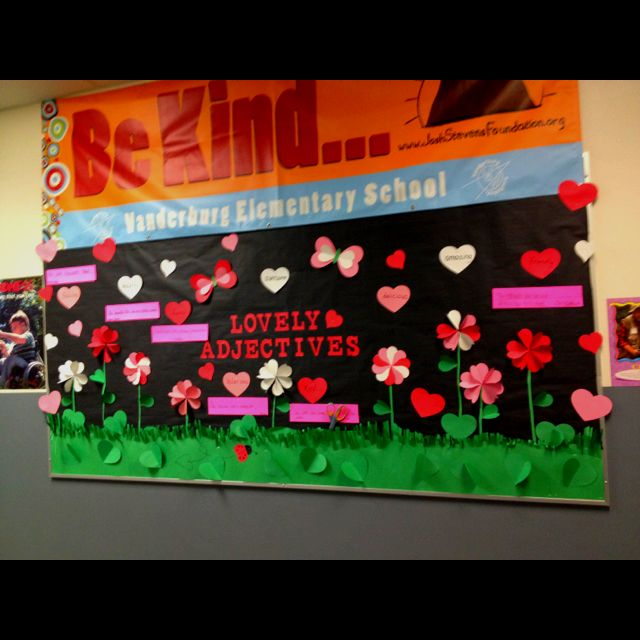 Valentine bulletin board for Rachael's class. All using hearts!!