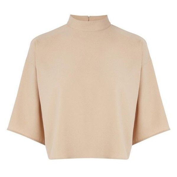 Warehouse High Neck Satin Back Top ❤ liked on Polyvore featuring tops, t-shirts, beige crop top, high neck tee, long-sleeve crop tops, cropped tops and satin crop top