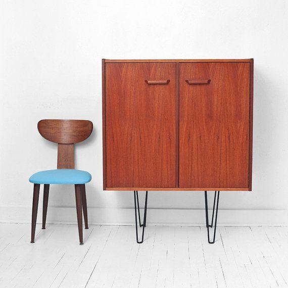 Vintage Teak & Hairpin Wall Unit  Mid Century Modern by Hindsvik, $499.00
