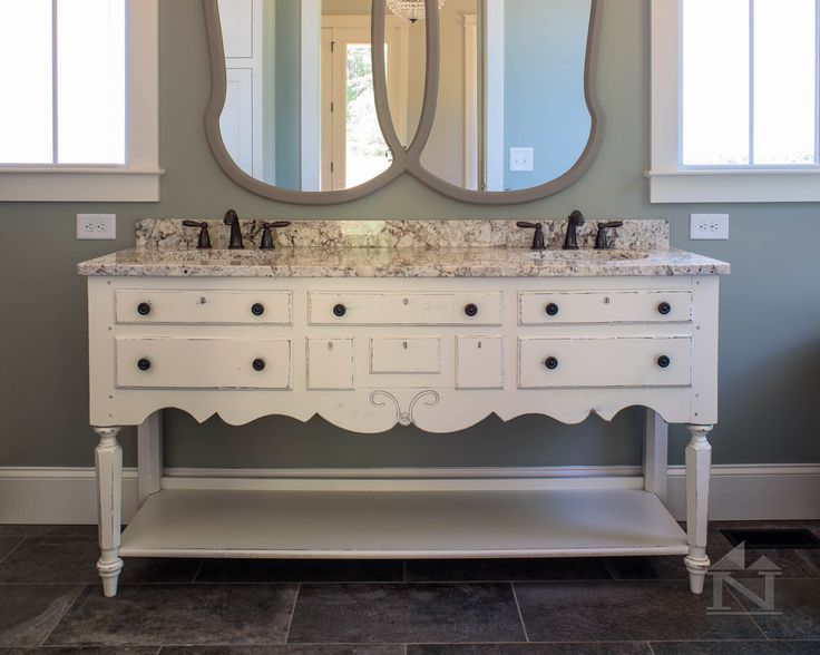 Refurbished Antique Furniture Piece To His U0026 Her Sink Vanity. Four Gables  Farmhouse Floor Plan As Seen In Southern Living Magazine.