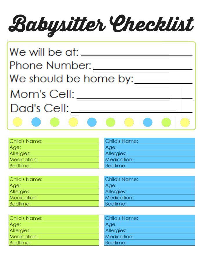Family Binder Printables | Best of Pinterest | Babysitter ...
