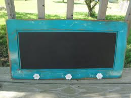 Repurposed cupboard door chalkboard hanging rack
