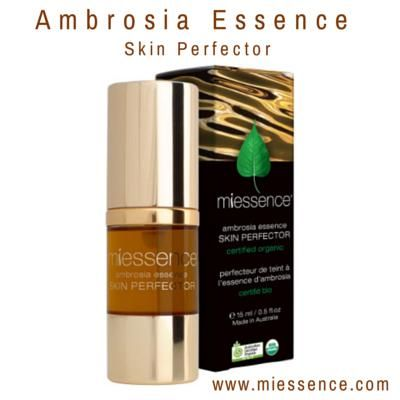 Miessence Certified Organic Ambrosia Essence, a potent extract of 8 highly effective herbs & flowers to help renew the skin.