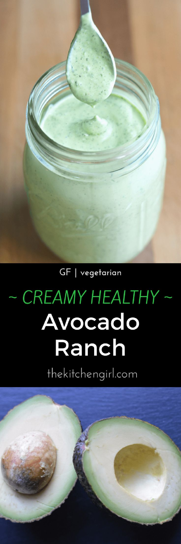 SO addictive & secretly healthy! Creamy Avocado Ranch Dressing uses nonfat Greek yogurt and less mayo than most ranch recipes. GF / Vegetarian. thekitchengirl.com #healthyranch #greekyogurtranch #healthyappetizer #ranchdip #partyfood