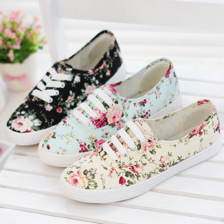 Новые женские кроссовки холщовые 2014 на плоской подошве из хлопка разноцветные с цветочным принтом 517, принадлежащий категории Кроссовки и относящийся к Обувь на сайте AliExpress.com | Alibaba Group