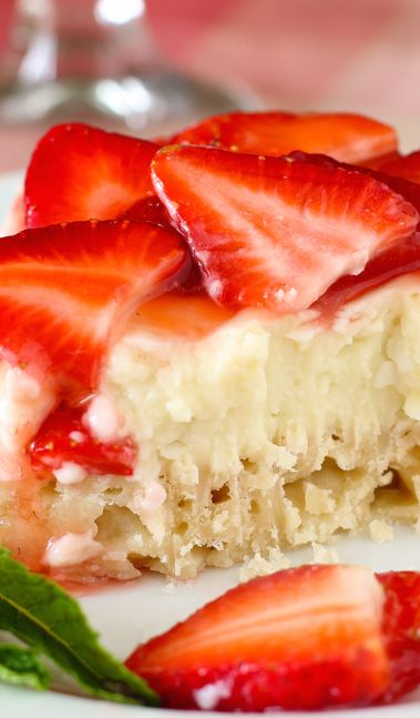 Strawberry Coconut Cream Pie Bars Recipe ~ They are an incredible mixture of coconut cream pie and strawberry cream pie — just perfect for a beautiful spring dessert. Seriously, they are SO GOOD. They're easy to make, too (no pie crust rolling)!