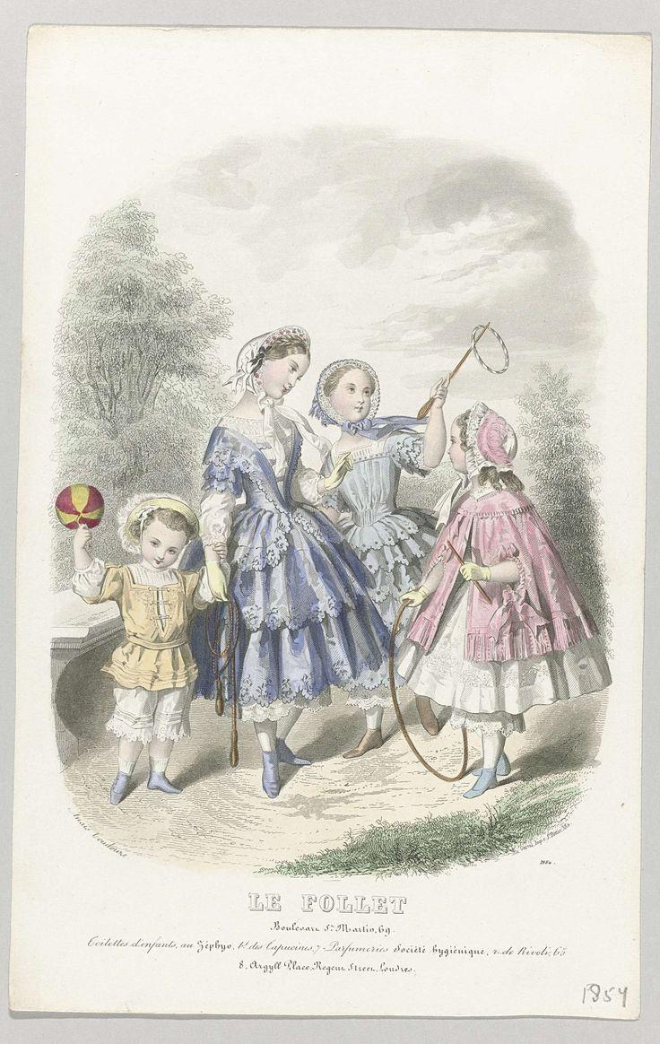 Anonymous | Le Follet, 1854, No. 1884 : Toilettes d'enfants..., Anonymous, Gerval, 1854 | Drie meisjes en een jongen met speelgoed (bal, springtouw en hoepels) in een park. Onder de voorstelling enkele regels reclametekst voor verschillende producten. Prent uit het modetijdschrift Le Follet Courrier des Salons (novembre 1829- octobre 1882).