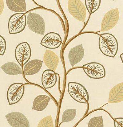 обои бежево-коричневые с листьями T6037 Beige Thibaut