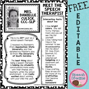 Free! All about Me the SLP FREE EDITABLE letter for parents